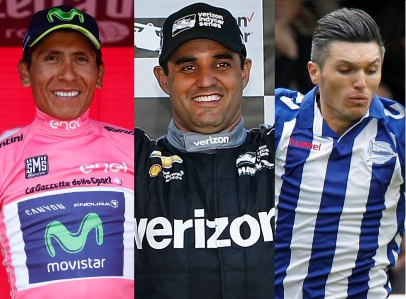 Nairo Quintana, Juan Pablo Montoya y Daniel Torres