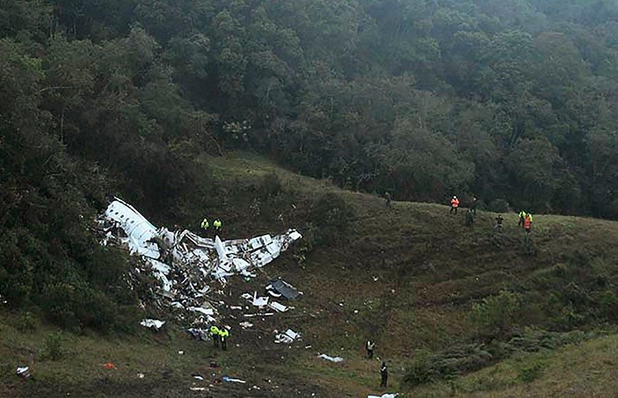 Avión de Lamia accidentado