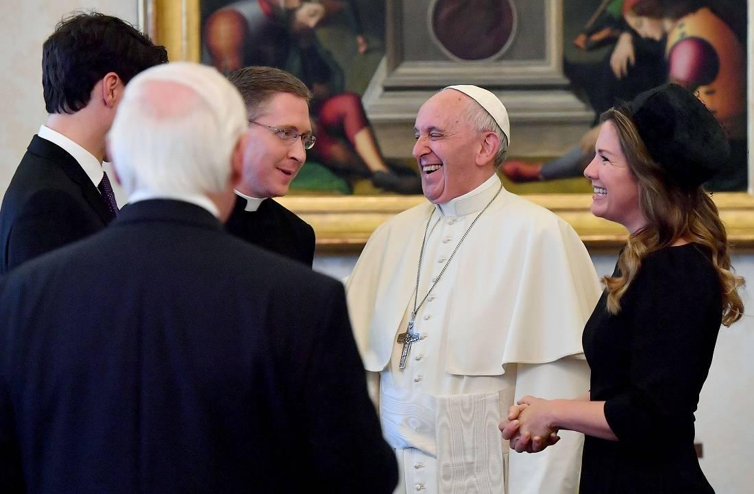 Justin Trudeau con el papa Francisco