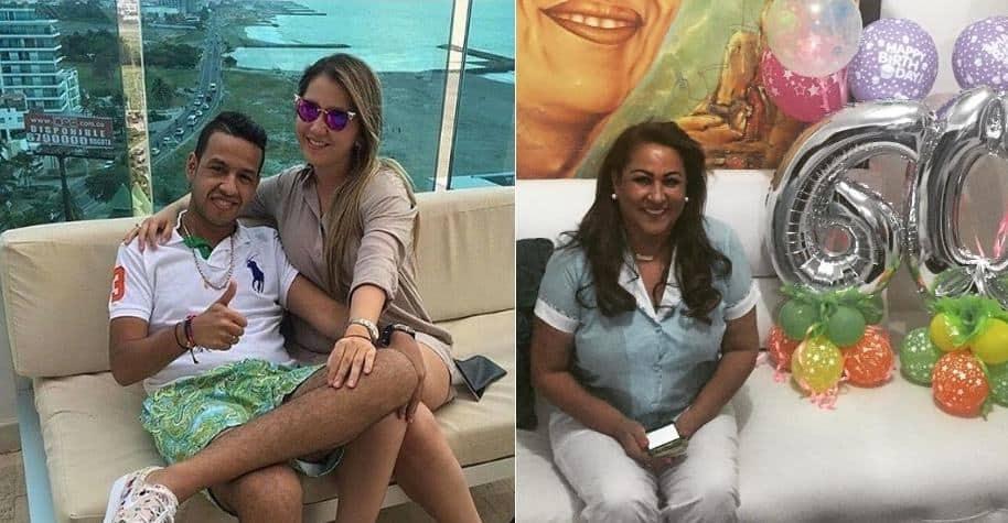El cantante Martín Elías (Q.E.P.D.) junto a su esposa Dayana Jaimes, y Patricia Acosta, mamá del fallecido artista.
