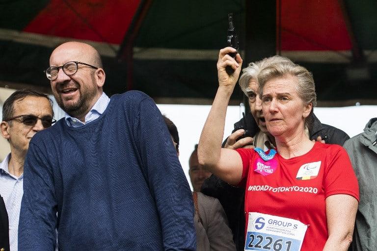 Primer ministro Charles Michel reacts y la  Princesa Astrid de Bélgica