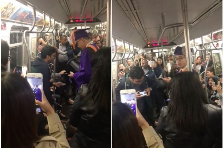 Joven se gradúa en el metro.