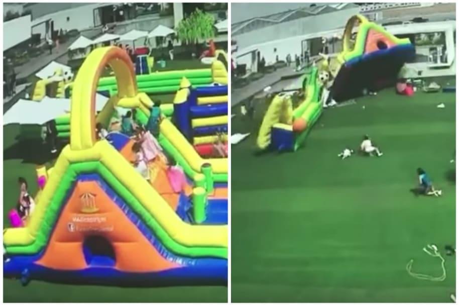 Ráfaga de viento se lleva inflables y niños encima.