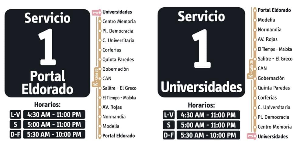 Servicio 1 de ruta fácil en Transmilenio