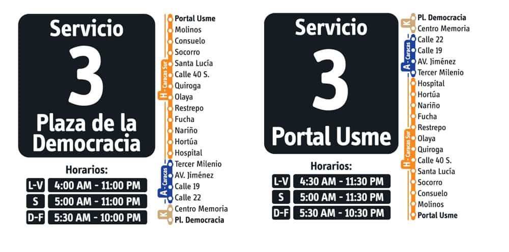 Servicio 3 de ruta fácil en Transmilenio