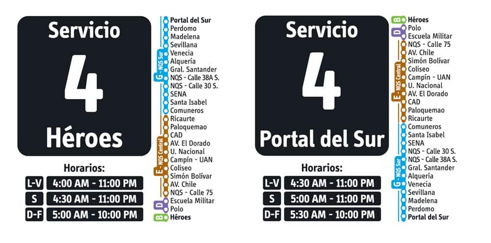 Servicio 4 de ruta fácil en Transmilenio