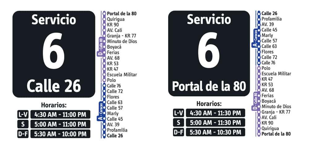 Servicio 6 de ruta fácil en Transmilenio