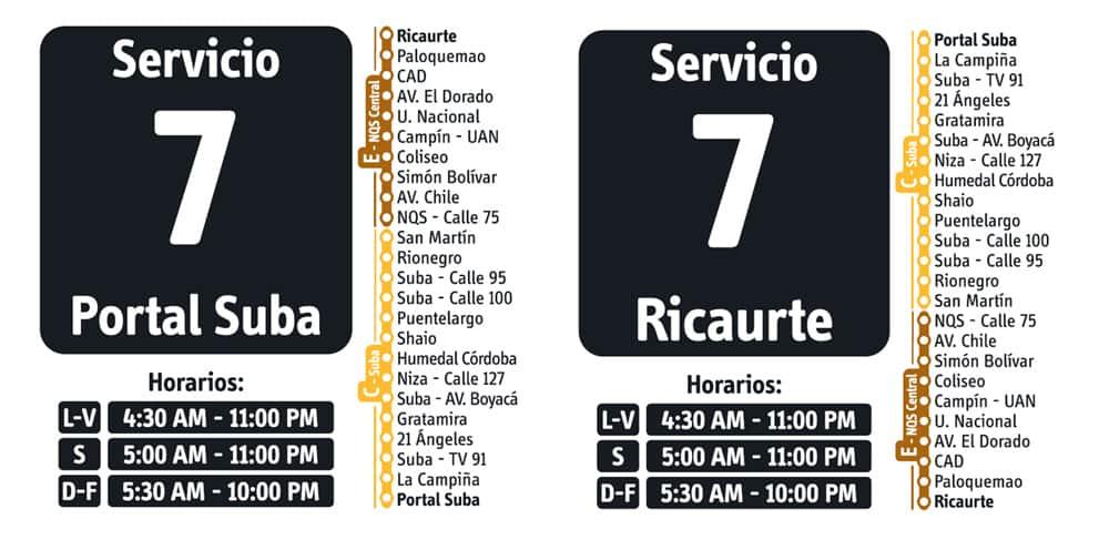 Servicio 7 de ruta fácil en Transmilenio