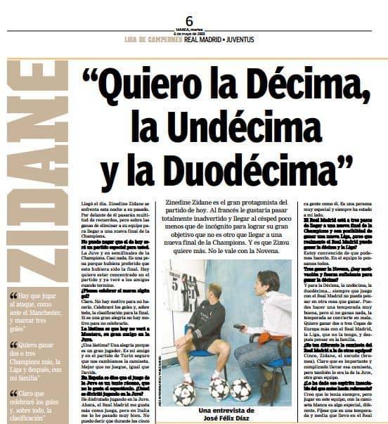 Entrevista de Zidane para Marca