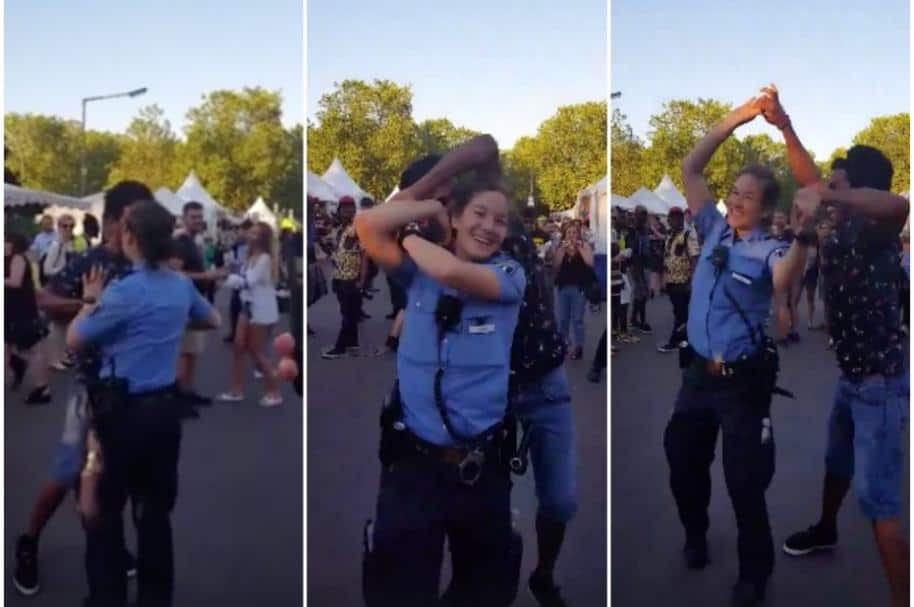 Policía alemana baila salsa.