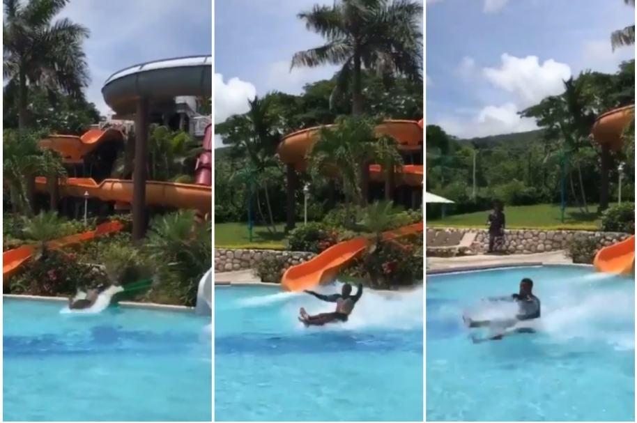 Hombre se desliza sentado en piscina.