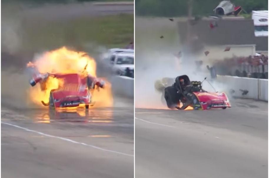 Carro explota en carrera.