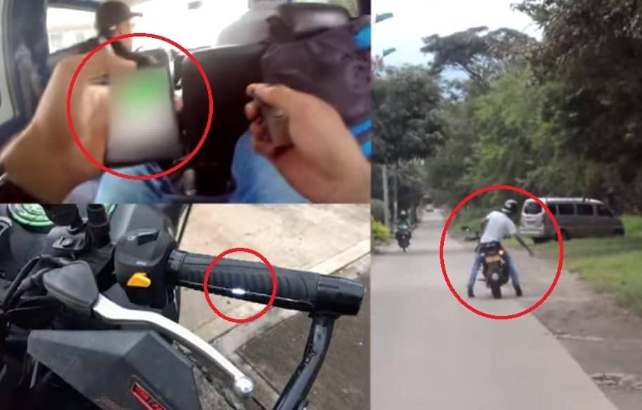 Aplicación de celular con electrochoque en moto