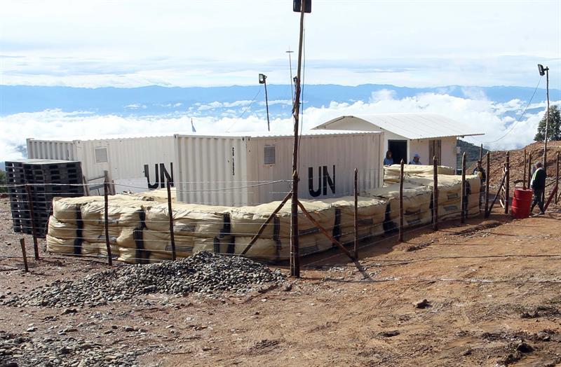 Contenedores de Naciones Unidas en los que se almacenan la armas de las Fuerzas Armadas Revolucionarias de Colombia (FARC) son vistos hoy, martes 13 de Junio de 2017, en La Elvira