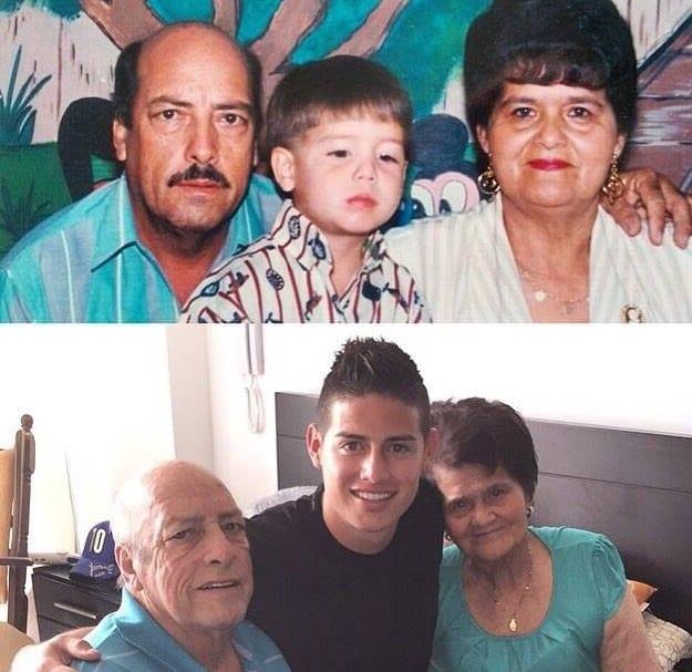 James Rodríguez y sus abuelos