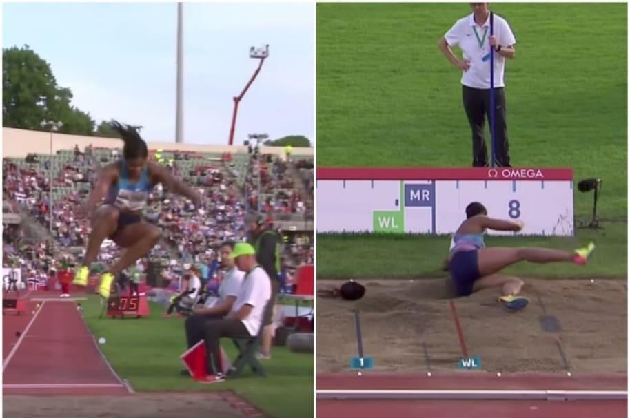A atleta se le cae la peluca.