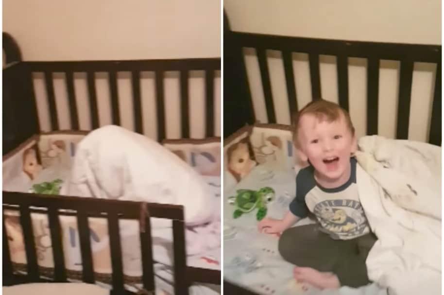 Niño en la cama.