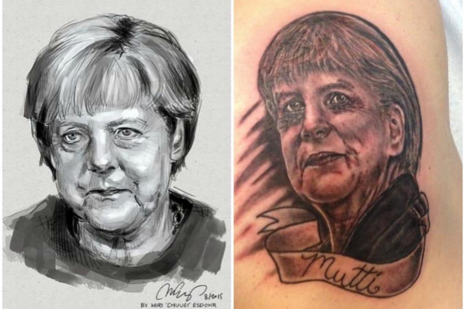 Tatuaje de Angela Merkel.