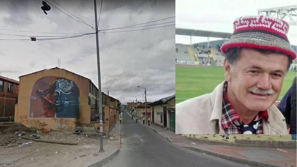 Carrera 8 con calle 6 (La Candelaria), lugar donde fue hallado muerto el humorista César Yesid Medina
