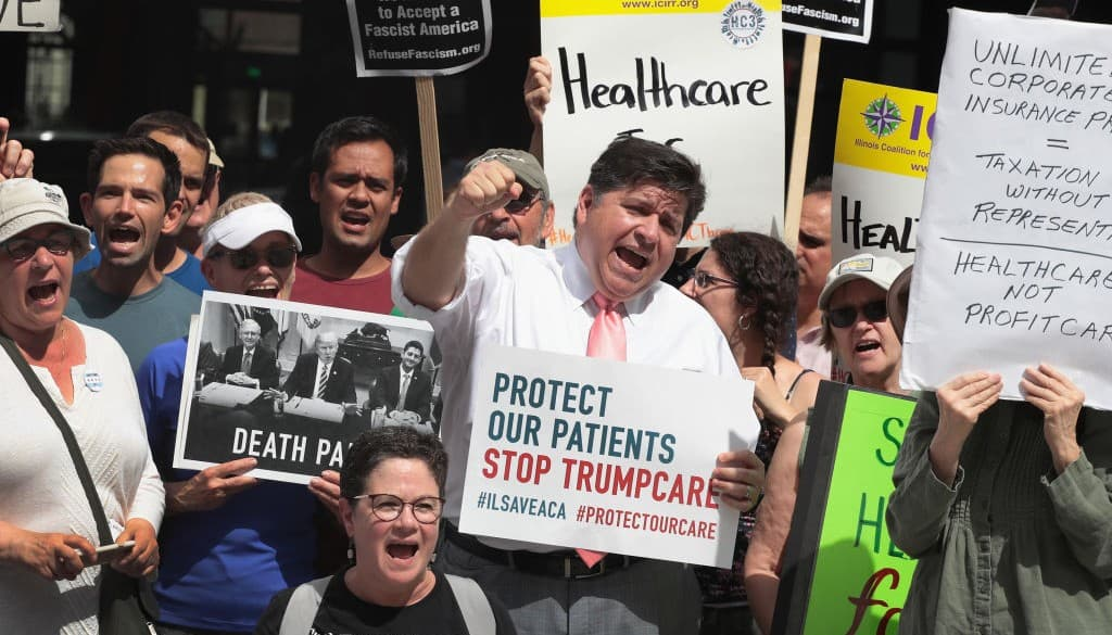 Manifestación contra el 'Trumpcare'