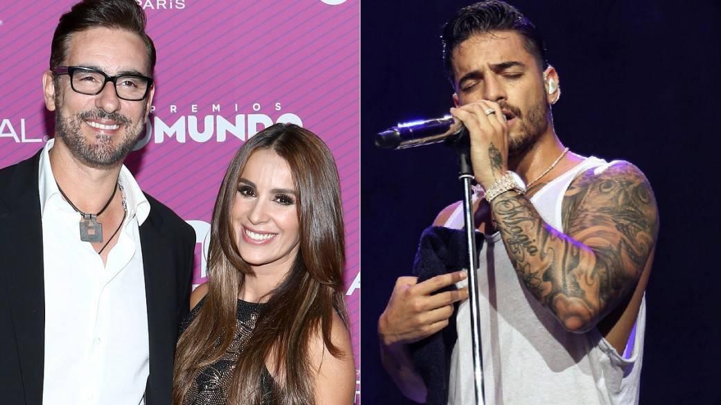 El actor Miguel Varoni junto su esposa, la actriz Catherine Siachoque, y el cantante Maluma.