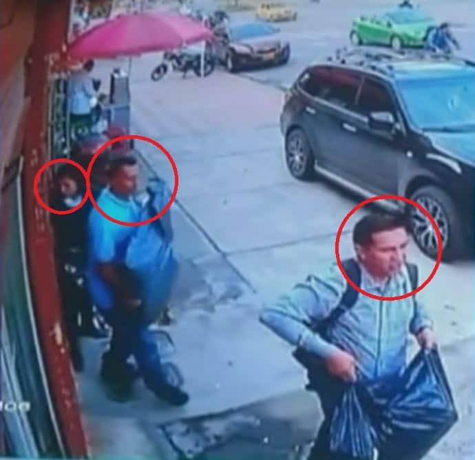 Delincuentes captados en una cámara, luego de cometer un hurto