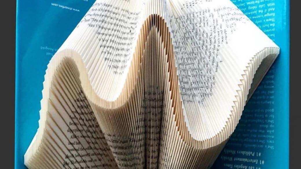 Artista crea esculturas doblando hojas de libros