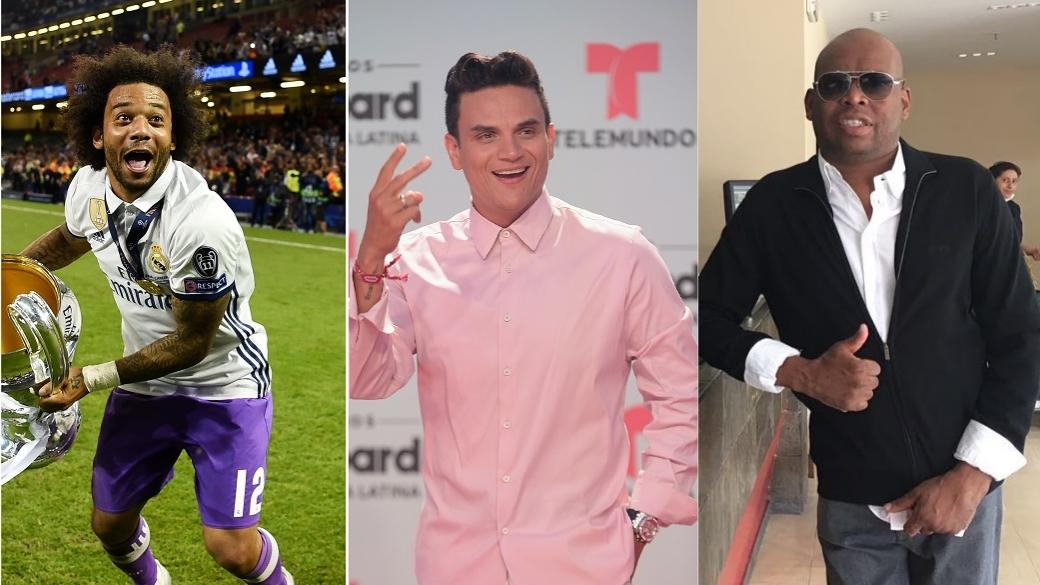 Marcelo, futbolista del Real Madrid; Silvestre Dangond, cantante; y Faustino 'el Tino' Asprilla, exfutbolista.