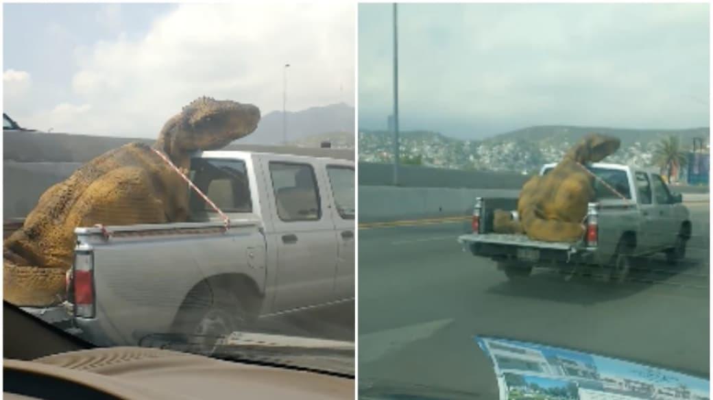 Muñeco de dinosaurio en una camioneta.