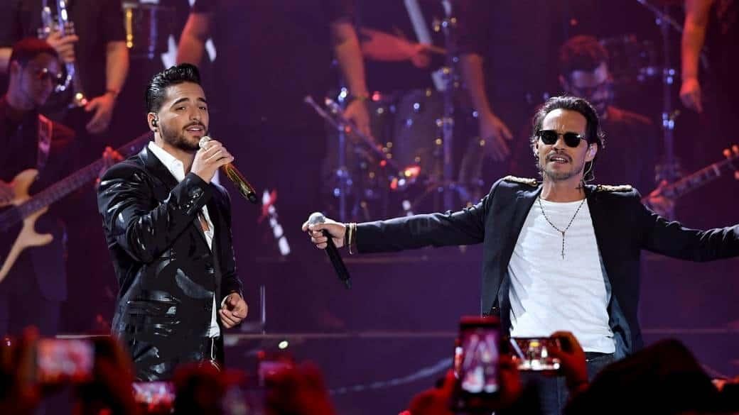 Maluma y Marc Anthony, cantantes.