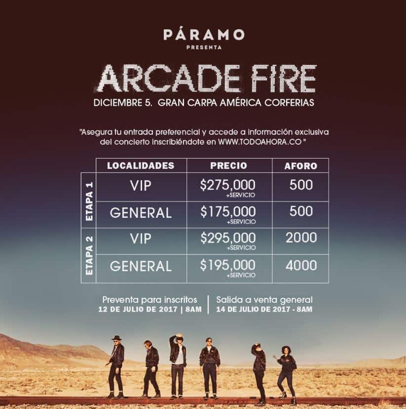 Precios de entradas para ver a Arcade Fire