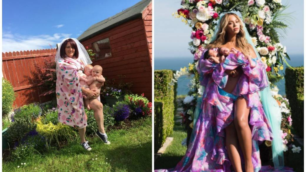 Parodia a foto de Beyoncé y sus mellizos. Pulzo.com