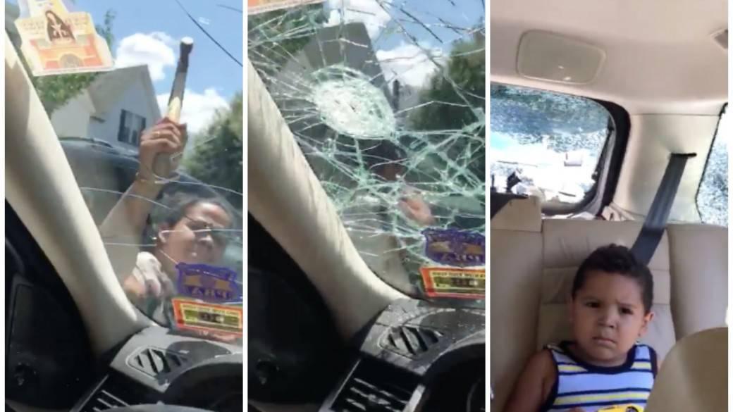 Mujer destruye vidrios de camioneta donde estaban sus hijos. Pulzo.com