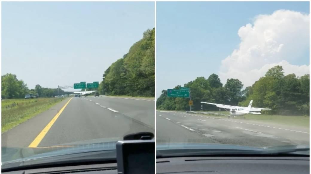 Avioneta aterriza en carretera.