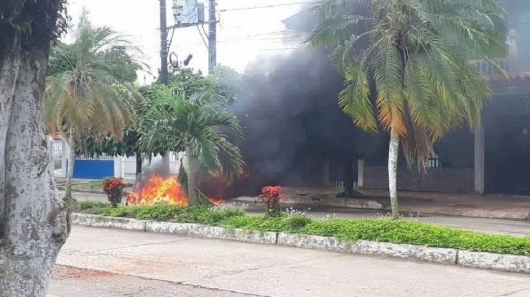 Motocicleta quemada