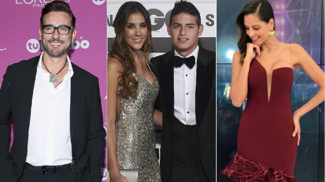El actor Miguel Varoni, la modelo Daniela Ospina, el futbolista James Rodríguez y la presentadora Laura Acuña.