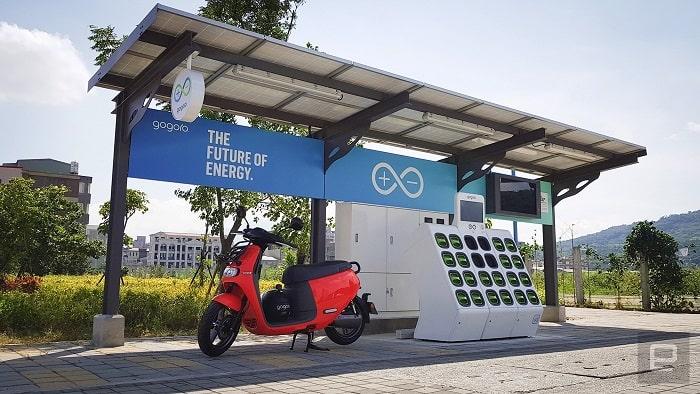 Estación solar scooters Gogoro