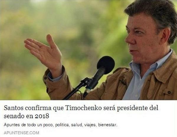 Noticia Falsa Santos y Timochenko