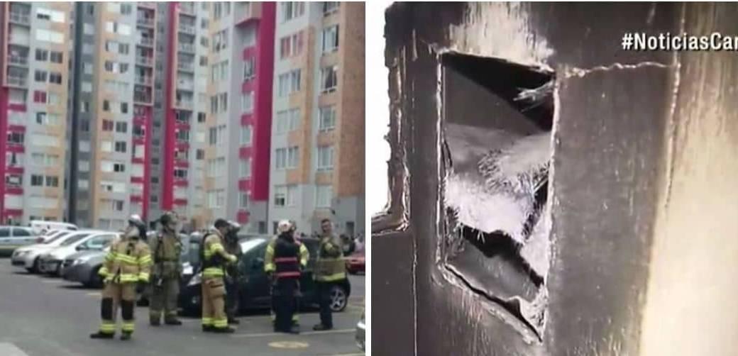 Así quedó el shut de basuras (foto derecha) del edificio donde se presentó el incendio