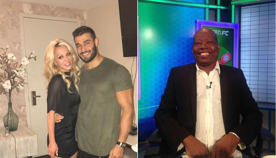 Britney Spears, cantante, junto su novio Sam Asghari, modelo; y Faustino 'el Tino' Asprilla, exfutbolista.