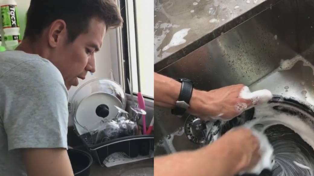 Rigoberto Urán lavando platos