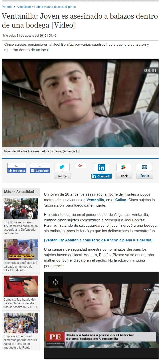 Noticias del joven peruano asesinado