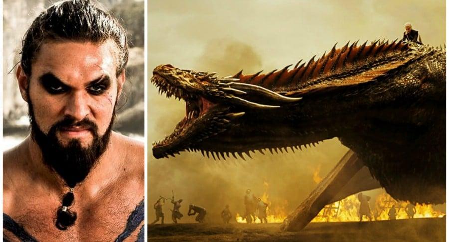 Khal Drogo y Daenerys sobre Drogon. Pulzo.