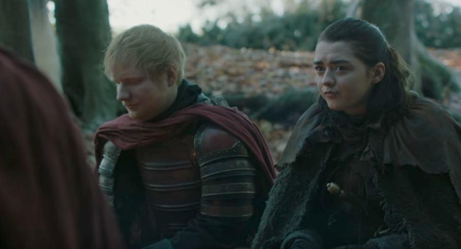 Ed Sheeran y Maisie Williams como un soldado Lannister y Arya. Pulzo.