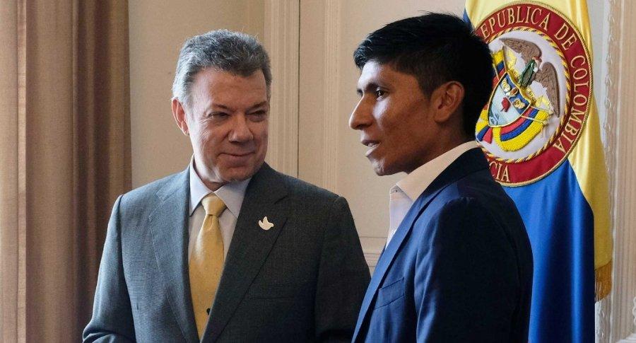 Juan Manuel Santos y Nairo Quintana