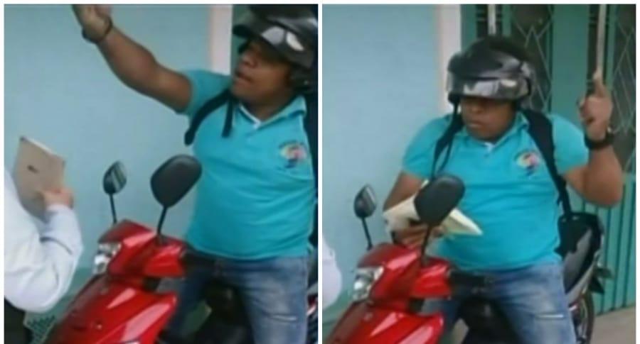 Funcionario negándose a que le inmovilizaran la moto, en Jamundí, Valle del Cauca. Pulzo.