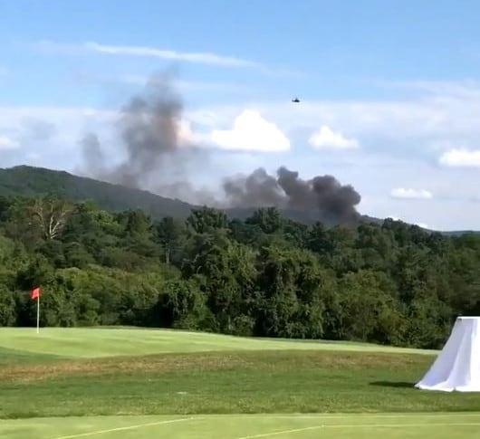 Imagen cerca de donde cayó el helicóptero