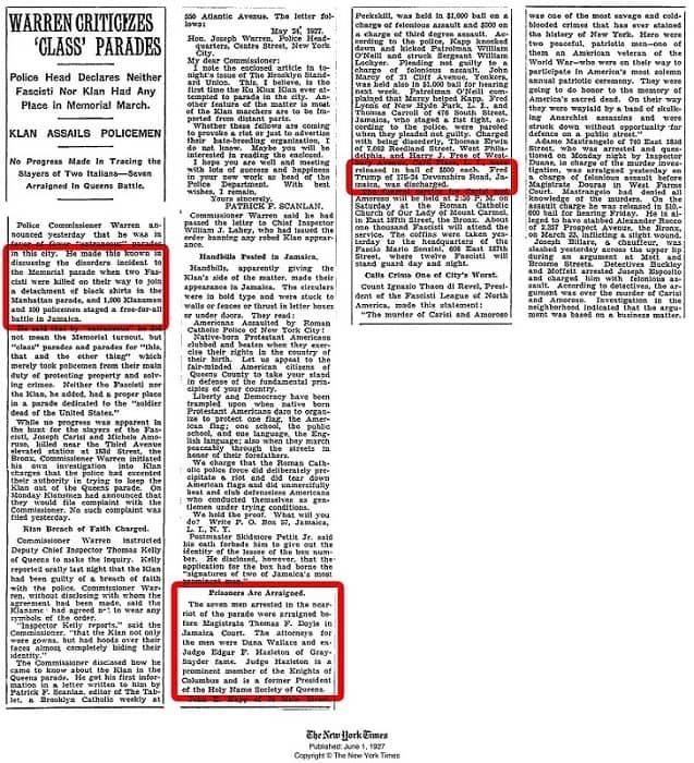 Edición de The New York Times con información del arresto de Fred Trump