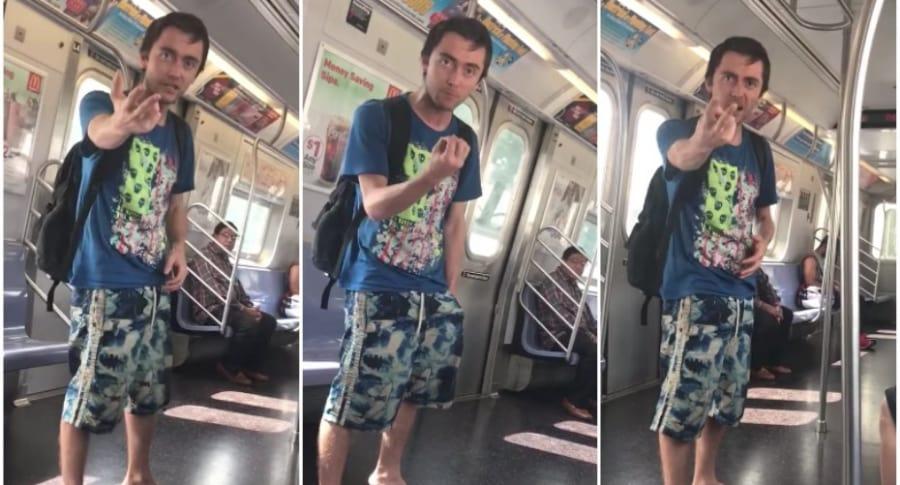 Racista en metro de Nueva York.