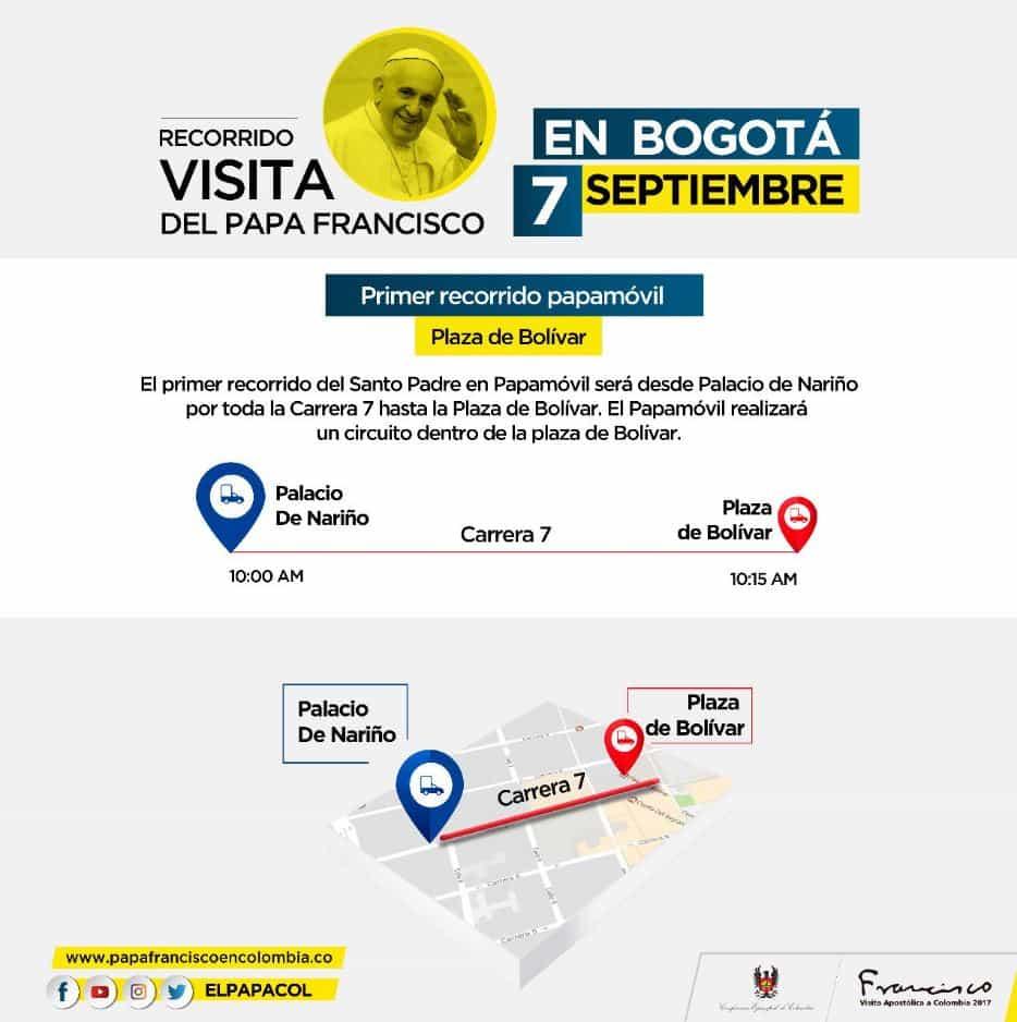 Primer recorrido del papa en Bogotá